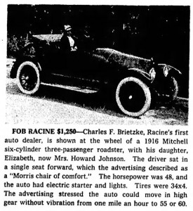 Brietzke and his daughter at the wheel of a 1916 Mitchell.