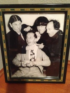 The Three Stooges with the manager of the Venetian Theater, George P. Gross.