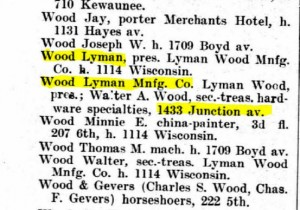Lyman Wood and family in the 1906 Racine City Directory