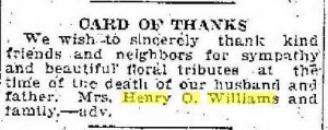 Card of Thanks for death of husband and father, Henry O. Williams, Racine Journal News, 1920 03 19