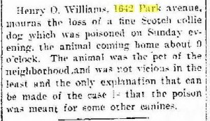 Henry O Williams found his scotch collie poisoned, Racine Daily Journal, 1907 07 31