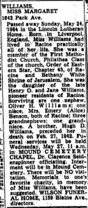 Miss Margaret Williams' obituary, Racine Journal Times, 1964 05 25