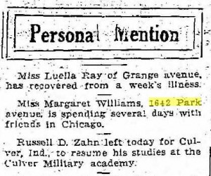 Miss Margaret Williams in Personal Mention Column, Racine Journal News, 1917 01 10