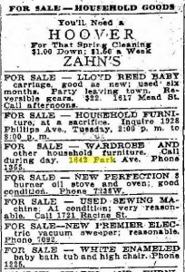Household goods for sale, Racine Journal News, 1922 04 10