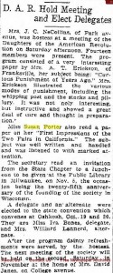 DAR holds meeting and elects delegates, Racine Journal News, Oct. 11, 1915