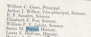 According to the 1920 Kipikawi, Miss Porter was teaching history in this year.