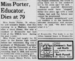 Miss Susan Porter, Educator, Dies at 79, Madison Wisconsin State Journal, March 27, 1939