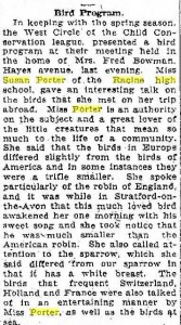 Miss Porter gave a talk on the birds she saw during her trip abroad in 1922.