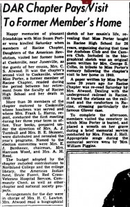 Miss Porter Taught at Racine High School for 26 Years, Racine Journal Times, 9/15/1947