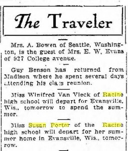 Miss Porter departs for her summer home in Evansville, June, 1914. This says Evansville, but I wonder if they were referring to Cooksville.