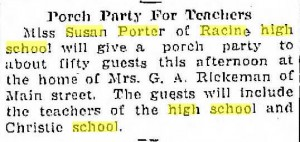 Porch party for teachers, 1914. Miss Porter seems to have rented a room from the Rickemans at 1608 S. Main.