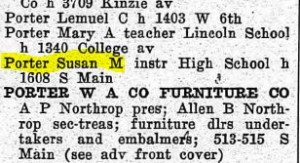 Miss Porter's address in 1916, according to the Racine City Directory
