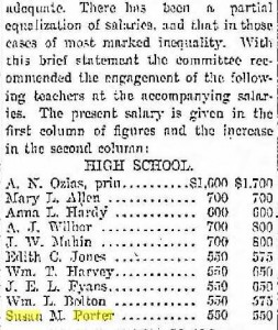 Teacher salaries including Miss Porter's in 1898