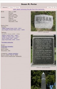 Susan Porter at FindAGrave. She is buried in Cooksville, Wisconsin