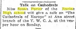 Talk given by Miss Porter on the cathedrals of Europe, April, 1914