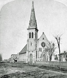 St. Luke's Episcopal Church, Racine, Wis., about 1880. This shows the church in its current location at the corner of Wisconsin Avenue and 7th Street.