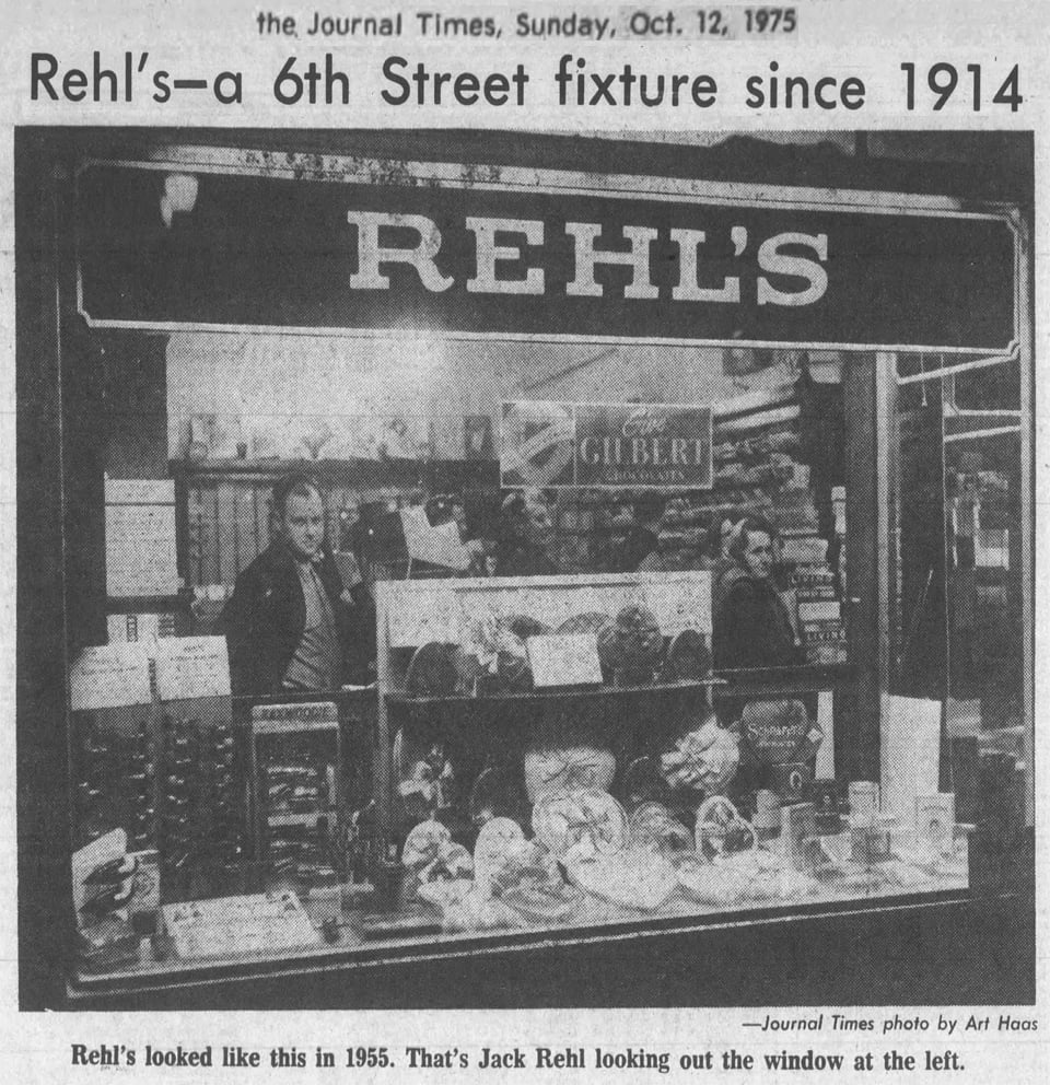 Rehl's - a 6th Street fixture since 1914. Rehl's looked like this in 1955. That's Jack Rehl looking out the window at the left.