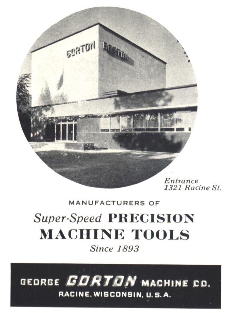 Advertisement for George Gorton Machine Company