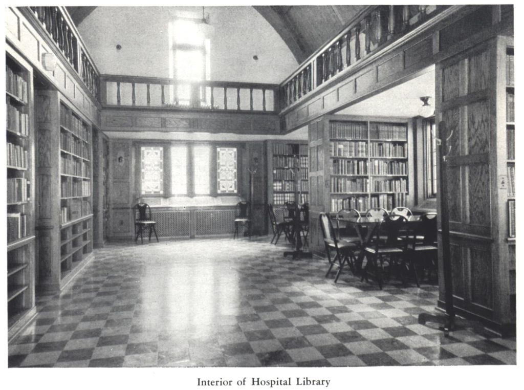Interior of hospital library
