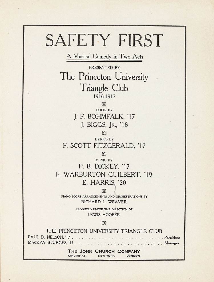 Here Warburton teamed up with F. Scott Fitzgerald again to produce Safety First during the Triangle Club's 1916-1917 season.